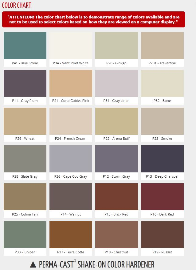 Butterfield Perma-Cast Shake-on Color Hardener color chart For the
