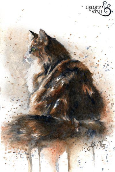 Animal Portraits Clockwork Art Braden Duncan Watercolor Cat