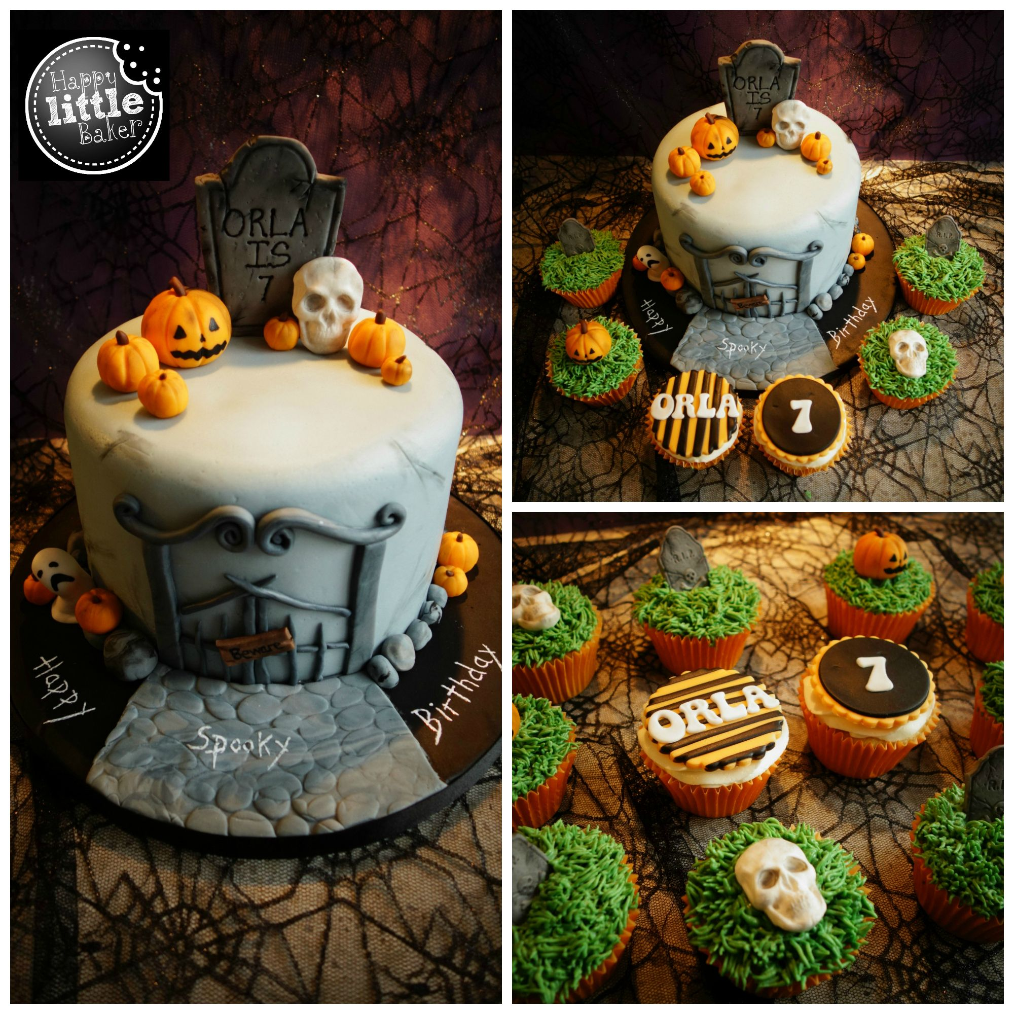 Halloween themed birthday cake and cupcakes Halloween