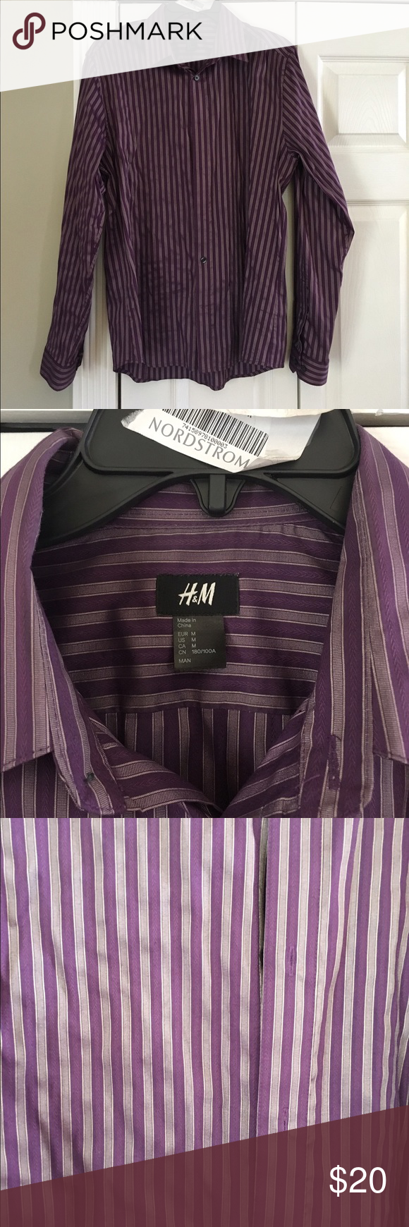 H&M dress shirt H&M dress shirt with pinstripe in purple. Worn 3-4 times. Clean no damages or stains. Comes from pet free and smoke free home. Size medium. Very nice cut for men H&M Shirts