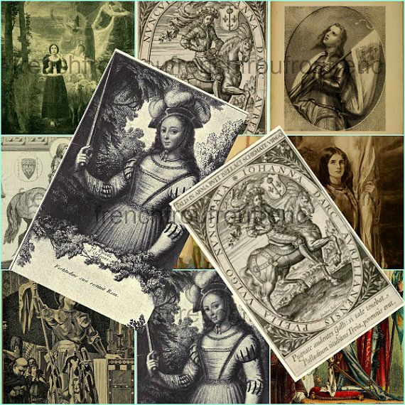 antique saint joan of arc collage sheet DIGITAL by FrenchFrouFrou, $4.95