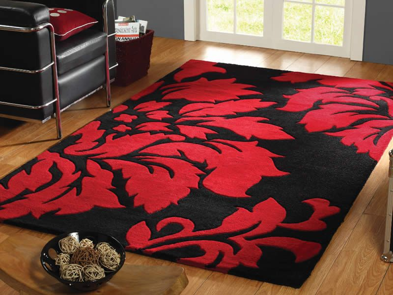 A Luxurious Wool Hand Tufted Matisse Black Red Soft Rug With Fl Pattern Giving Very Contemporary And Modern Look