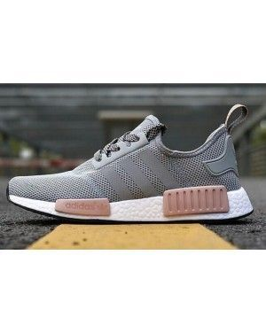 4b3f2509abc Womens Adidas NMD Gray Pink R1 Runner Vappn Boost