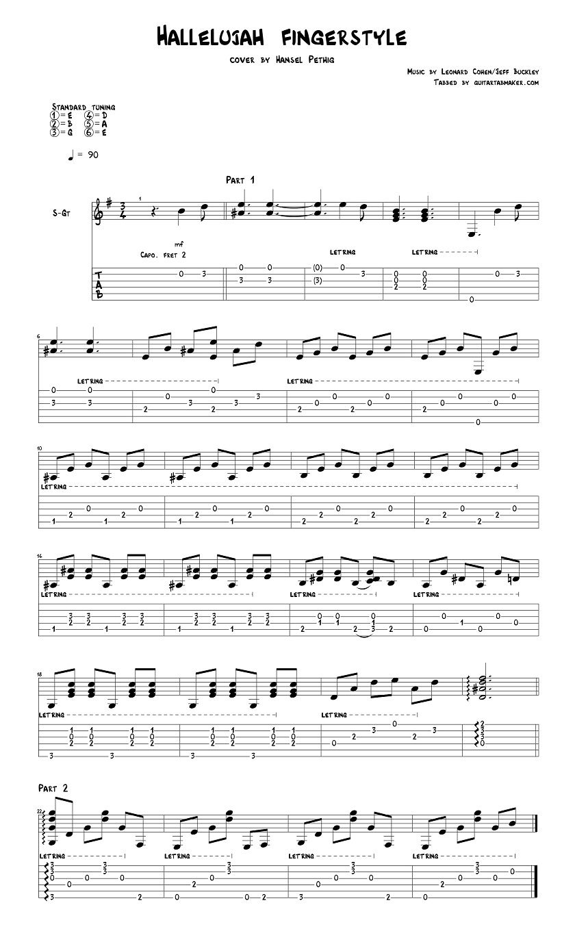 Hallelujah Fingerstyle Tab Sample Music Instrumental