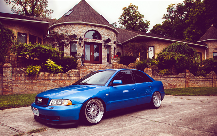 Download Wallpapers Audi A4 4k B5 Stance Tuning Blue A4