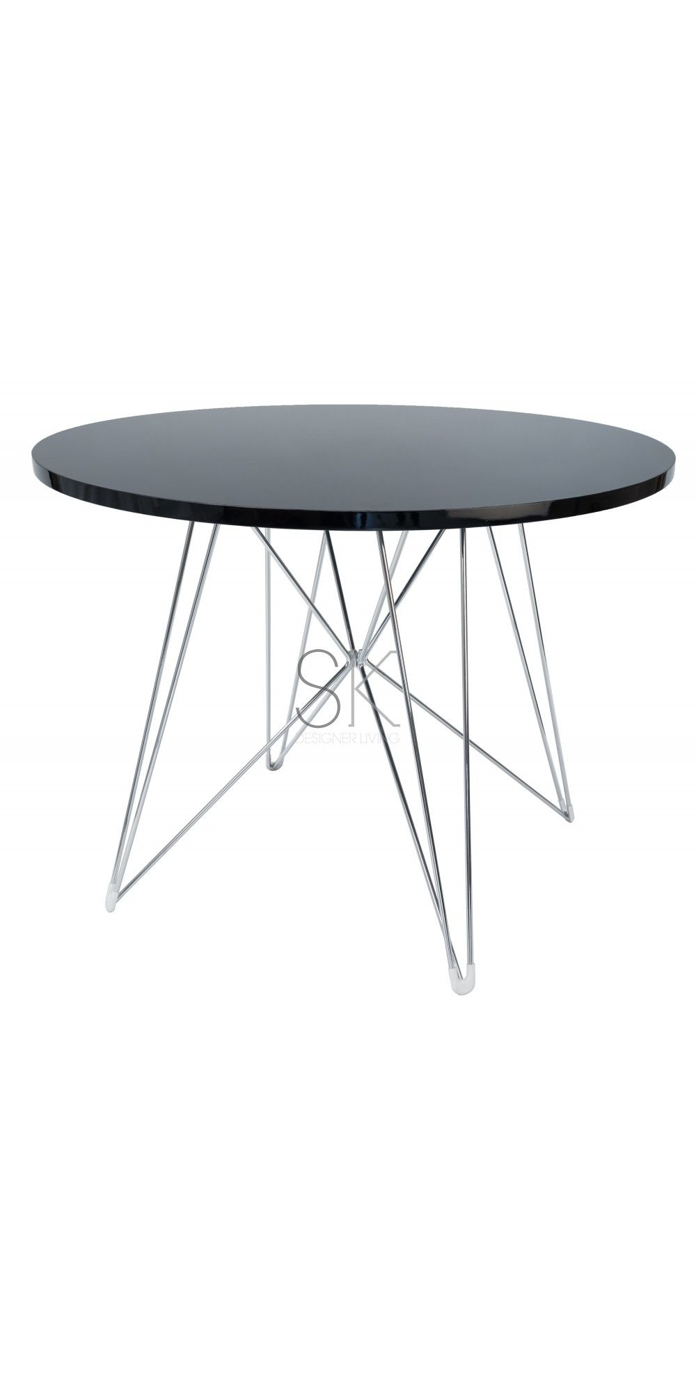 Beau Replica Eames DSR Round Eiffel Dining Table   Black U0026 Chrome Legs   100cm