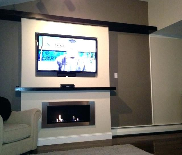 Recessed Tv Mount Wall Electric Fireplace Intended For Flush How To A Box In Stone