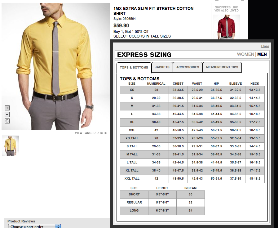 Express Sizing Chart Includes Tabs For Measurement Tips Size