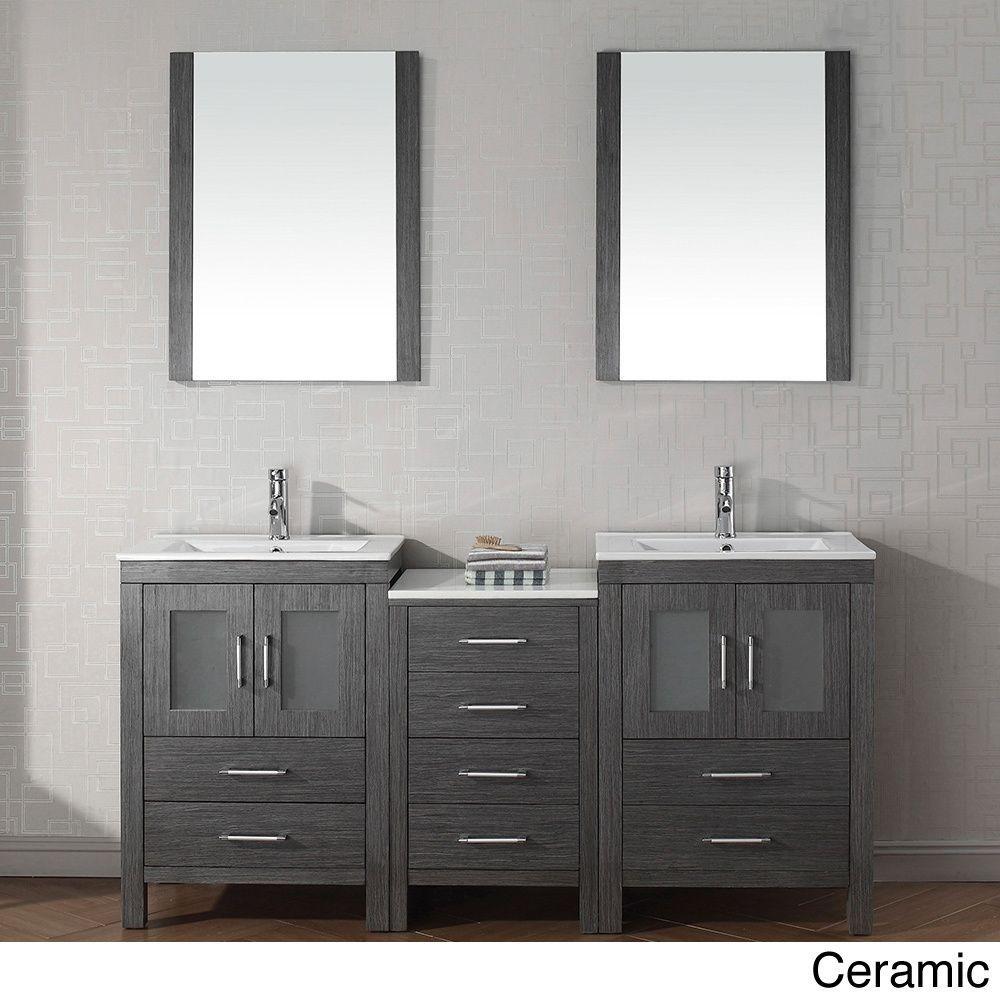Virtu bathroom accessories - Virtu Usa Dior 66 Inch Double Sink Vanity Set In Zebra Grey By Virtu Usa