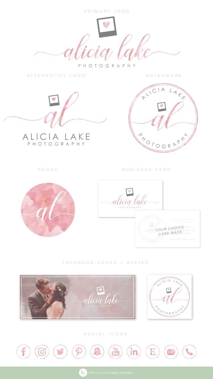 Photography Logo Photographer Logo Watercolor Logo Heart Logo
