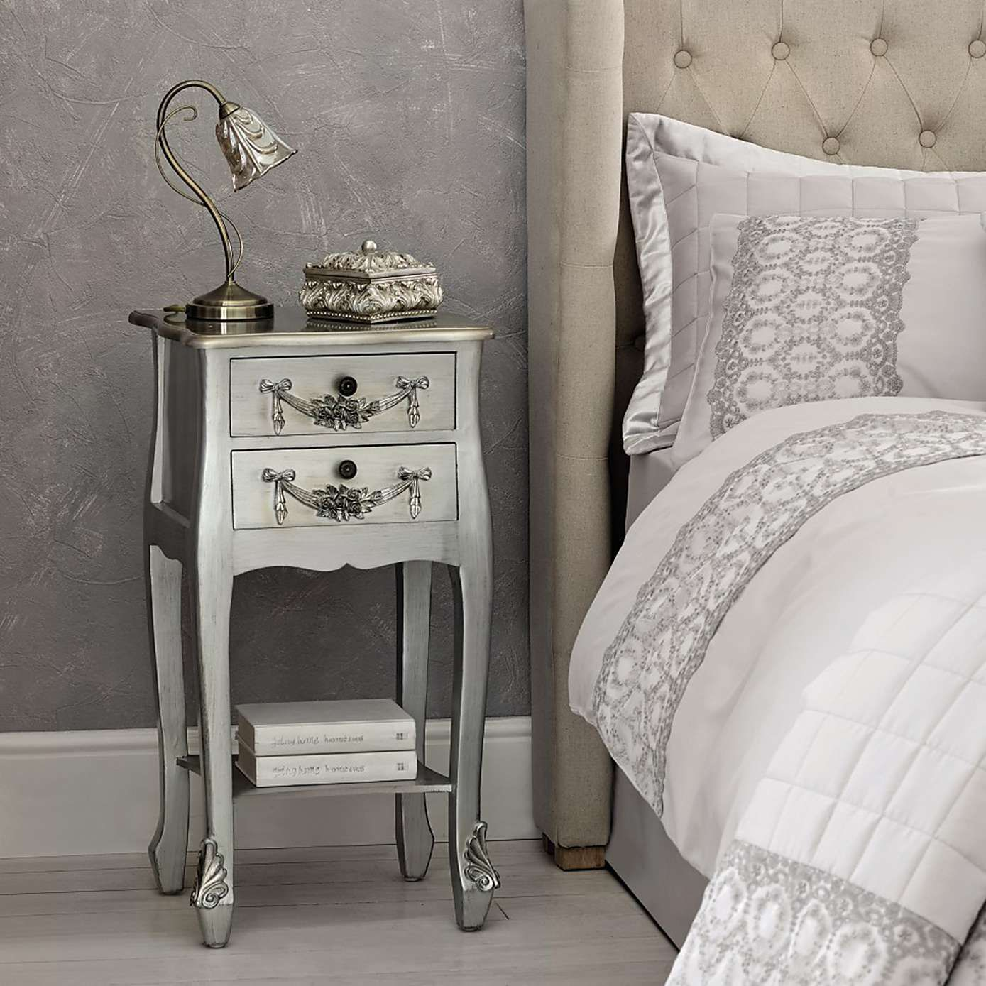 toulouse silver  drawer nightstand  dunelm  bedroom ideas  - toulouse silver  drawer nightstand  dunelm