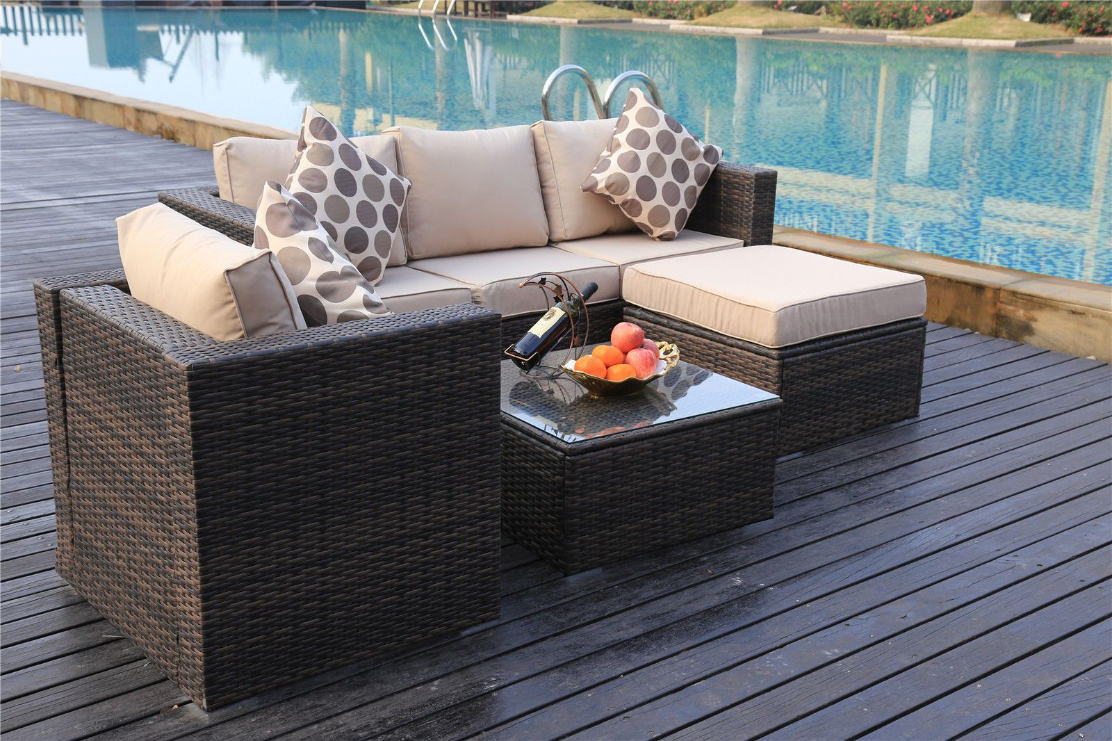 Vancouver 5 Seater Rattan Garden Furniture Set In Brown In 2020