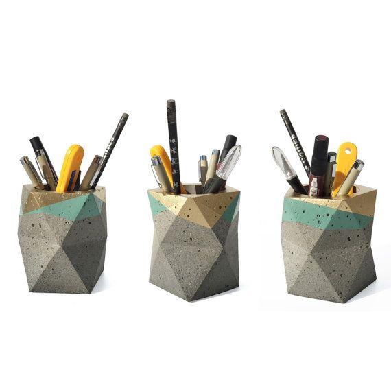 Geometric Concrete Pencil Holder // Pencil Cup // by HelloConcrete