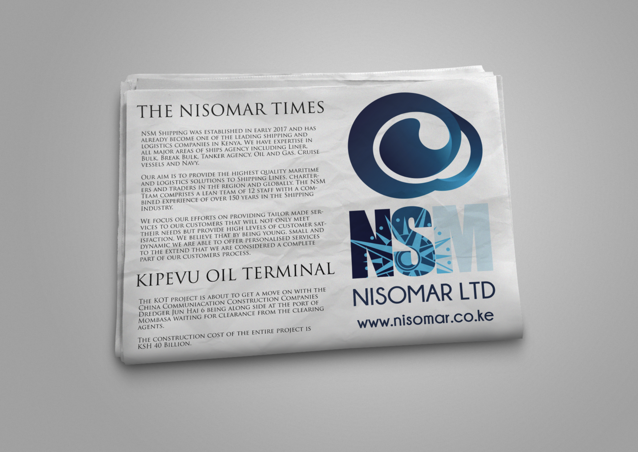 Adverts and designs for a shipping company based in Kenya