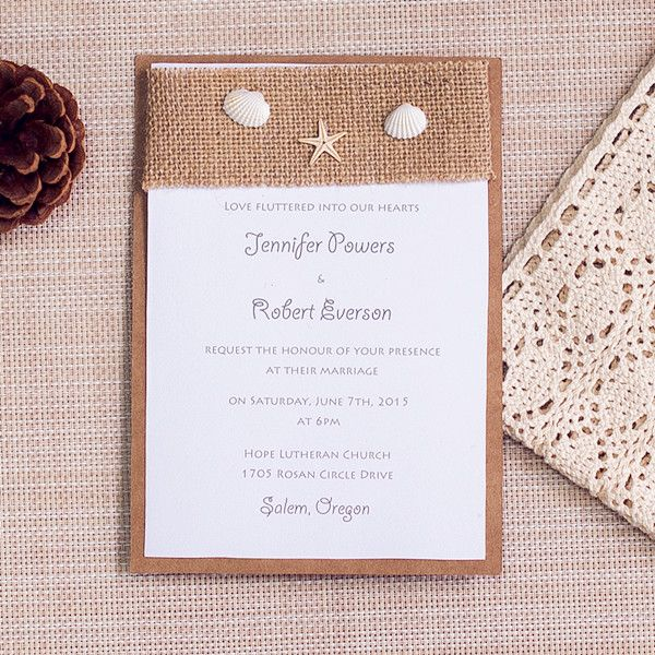 Beach And Nautical Themed Wedding Invitations