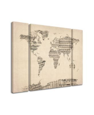sheet music world map Michael Tompsett Old Sheet Music World Map Multi Panel Art Set