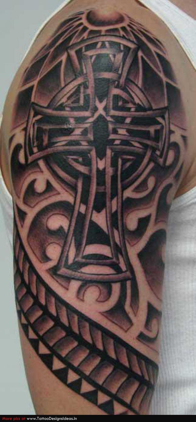 e6b9ef008f43e Celtic Cross worked into some nice line work upper arm half sleeve - -  #talesofthetatt #tattoo #Irish #StPatricksDay- www.talesofthetatt.com