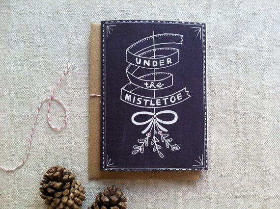 Under the Mistletoe Chalkboard Christmas Card on Etsy, $4.00