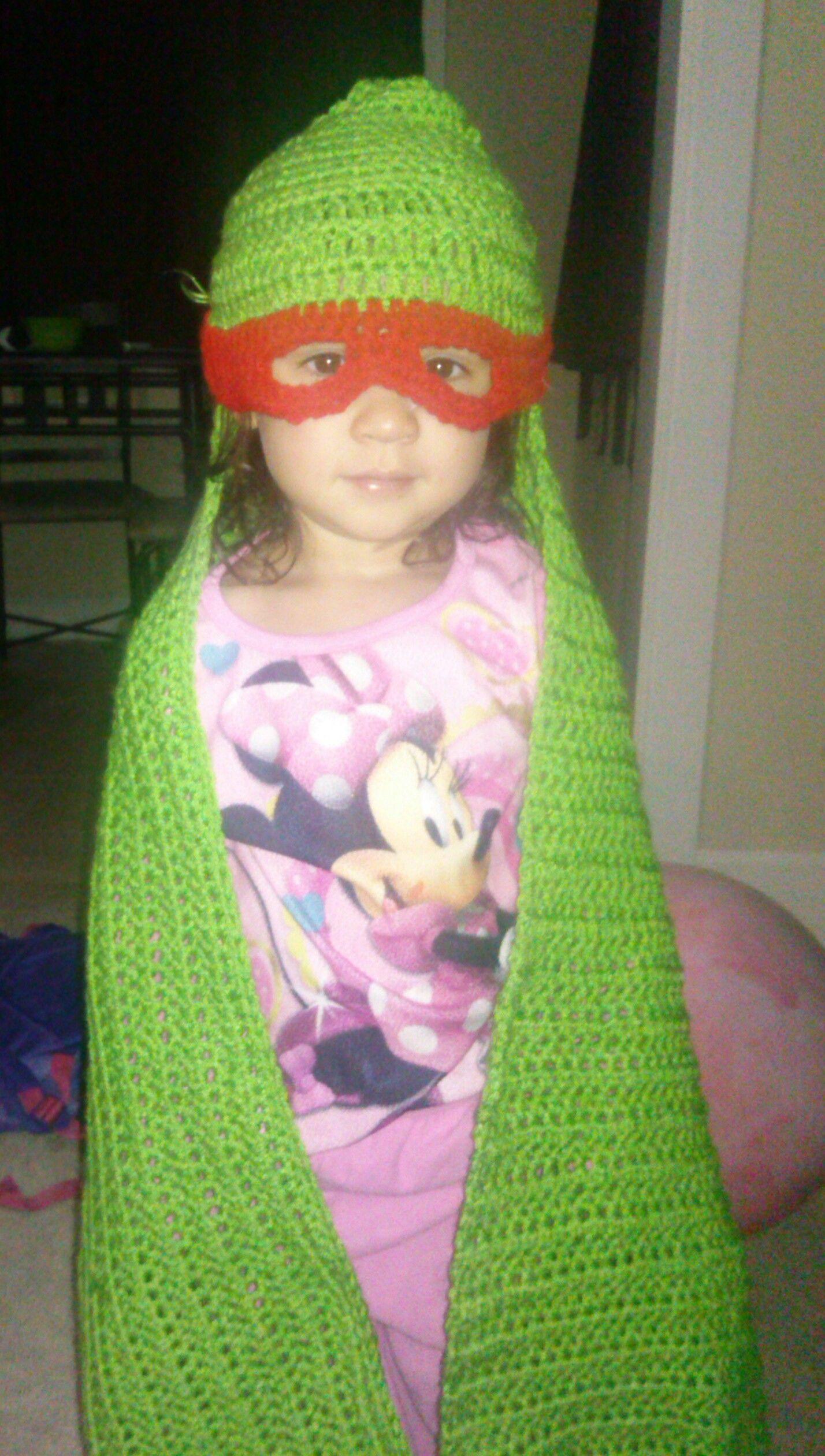 crocheted ninja turtle hooded blanket | Crochet | Pinterest ...