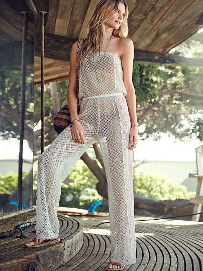 f0769a911f1a2 Sheer Lace Jumpsuit @ Victoria Secret $130 | Cover-Ups | Lace ...