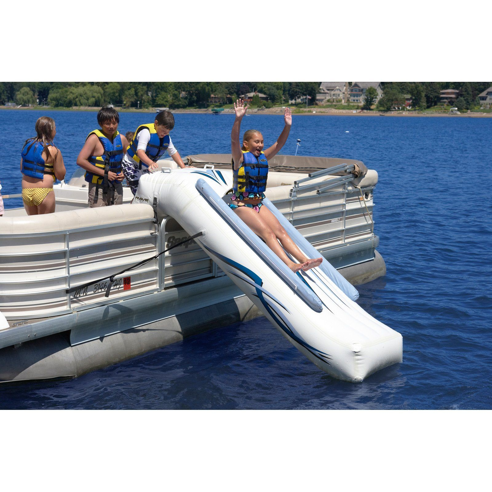 Pontoon slide that attaches directly to the side. Looks like boatloads of fun!