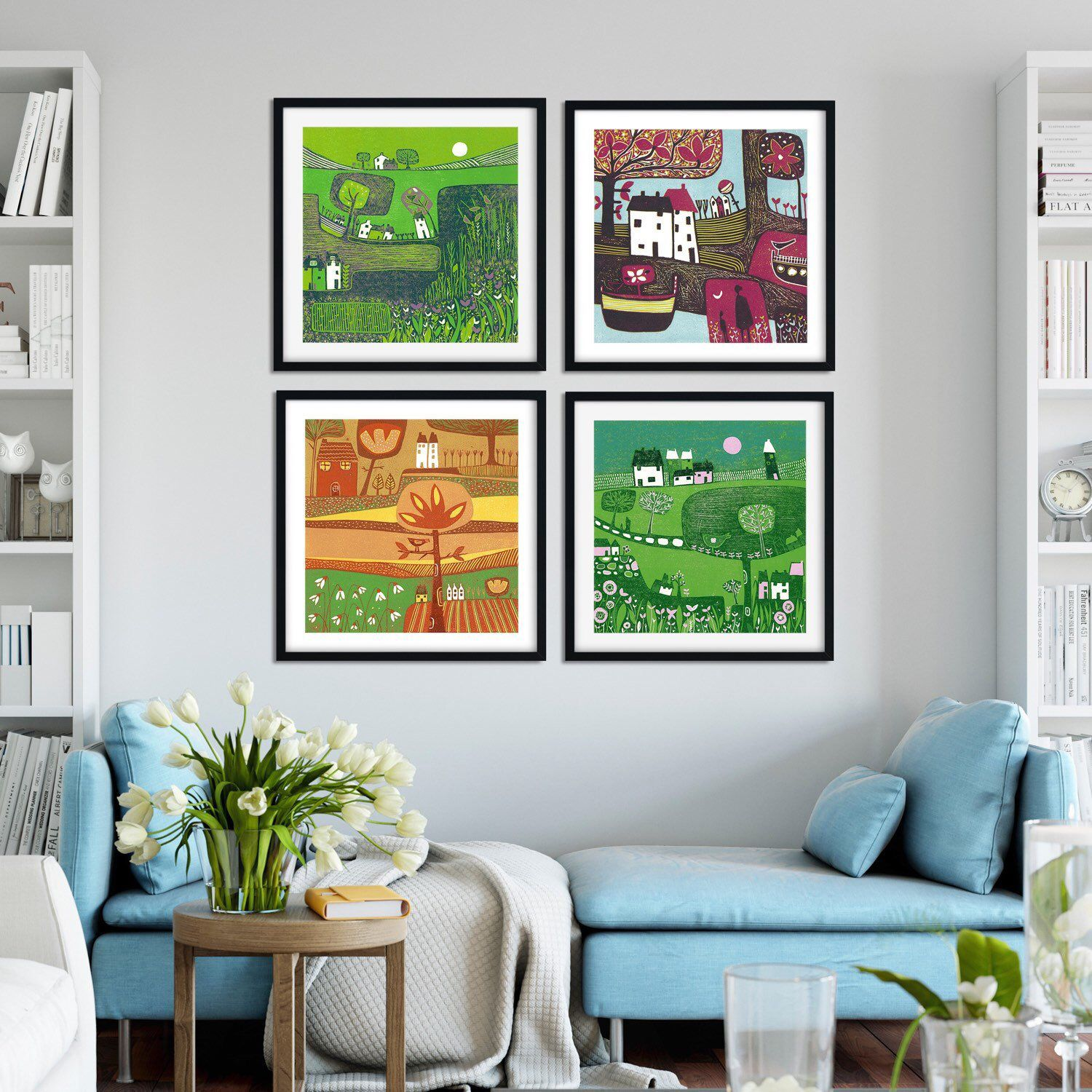 Colourful Set Of Prints In 4 Colorful Wall Art Fine Art Prints Giclee Art Print