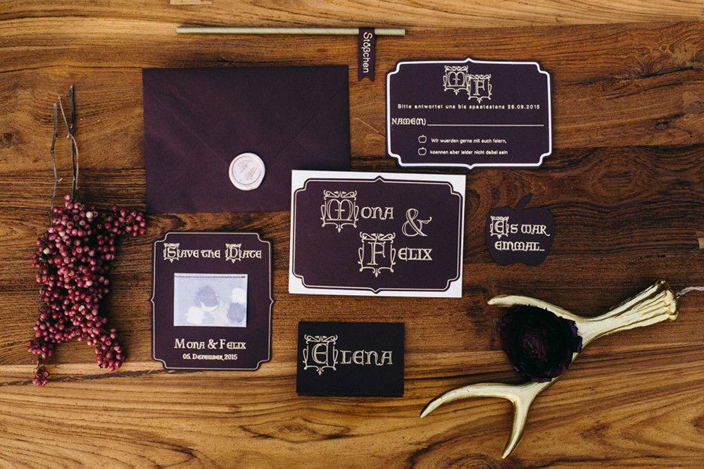 Papeterie, Einladung, Save The Date, Märchen Hochzeit, Marsala, Rot, Lila