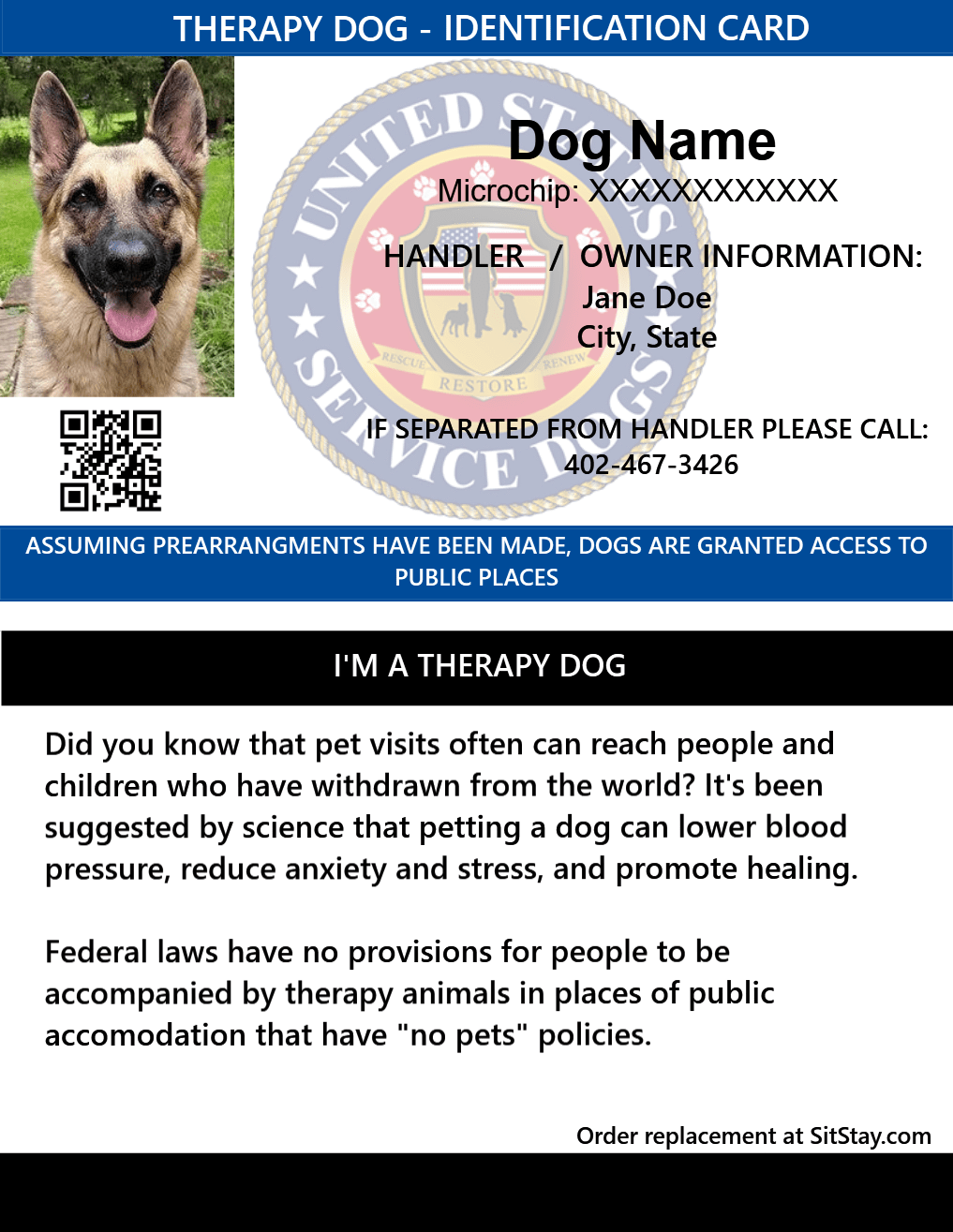 Id Card Therapy Dog Service Dogs Medication For Dogs Emotional Support Animal