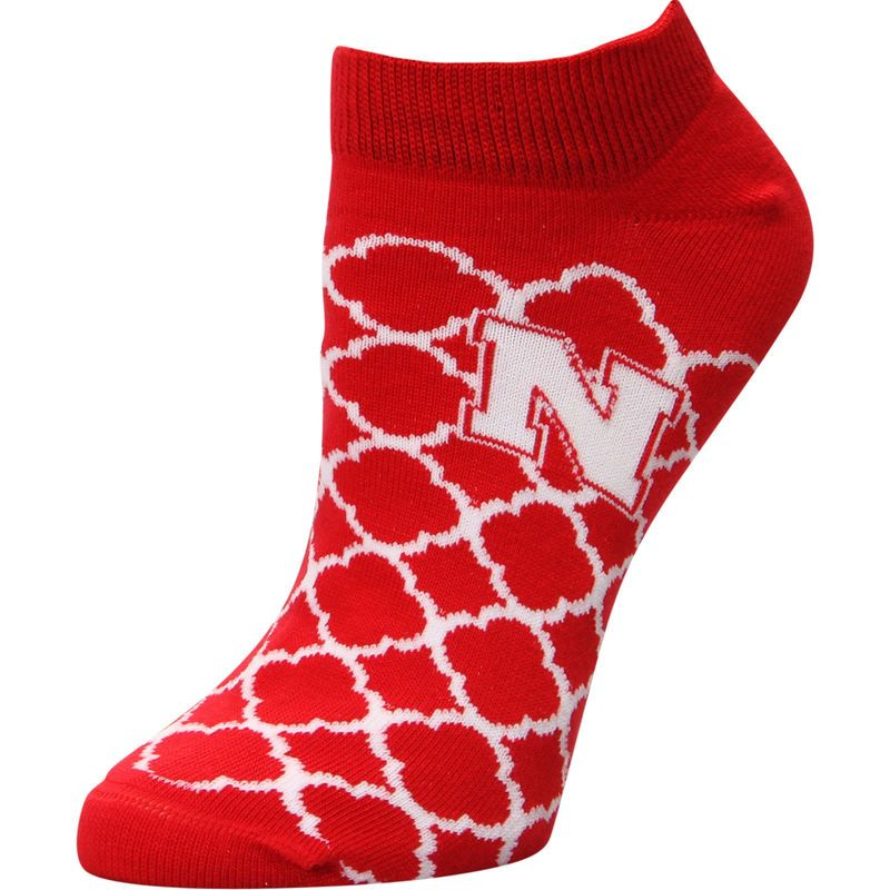 Nebraska Cornhuskers For Bare Feet Women's Quatrefoil Ankle Socks