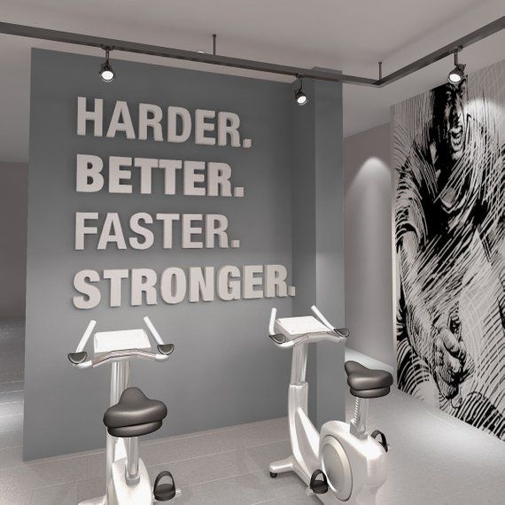Gym, Gym Decor, Harder, Better, Faster, Stronger, Gym Stickers, Wall Decor, Wall Art, 3D, 3D Art, Wall Hangings, Signs, Gift - SKU:HBFS3D -   19 fitness Room mall ideas