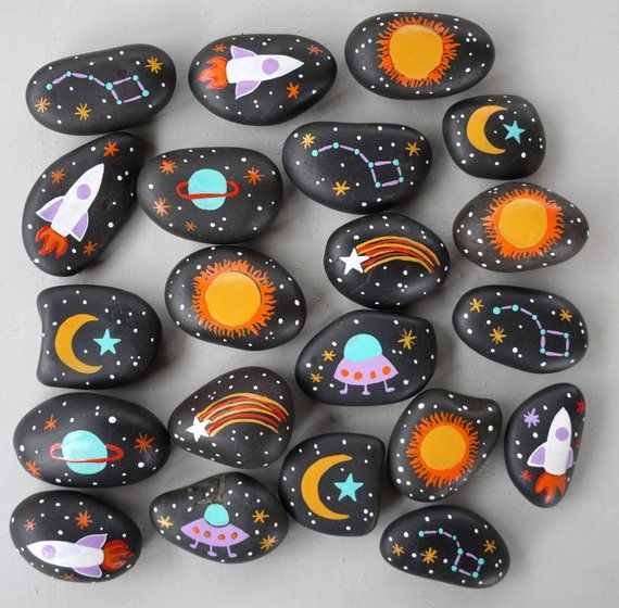 Set of 20 Hand Painted Space Rocks Themed Party Favor Moon Stars Rocket ufo Planets Universe Science Decor Eco-Friendly sun boy birthday #decorationevent