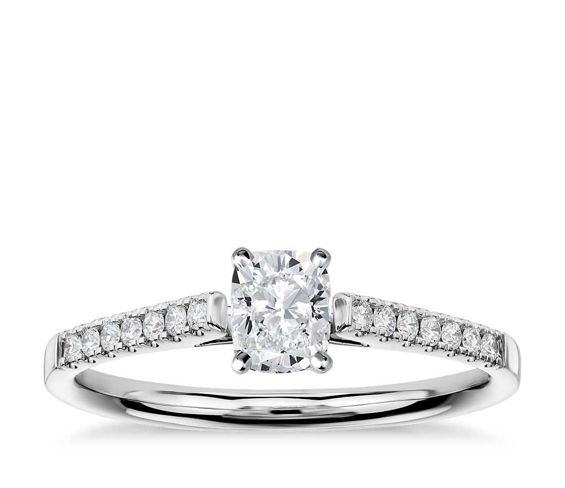 Petite cathedral pavé diamond engagement ring in k white gold
