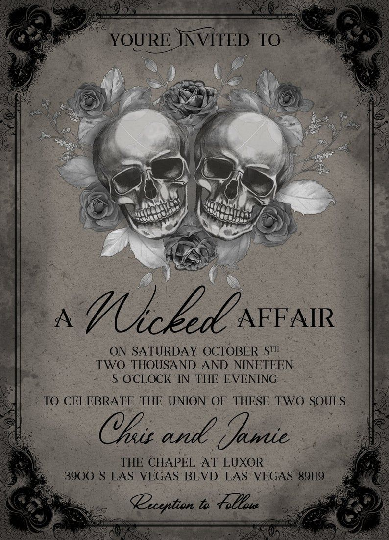 Gothic Wedding Invitation Skulls Wedding Invitation A Etsy In 2021 Gothic Wedding Invitations Skull Wedding Skull Wedding Invitation