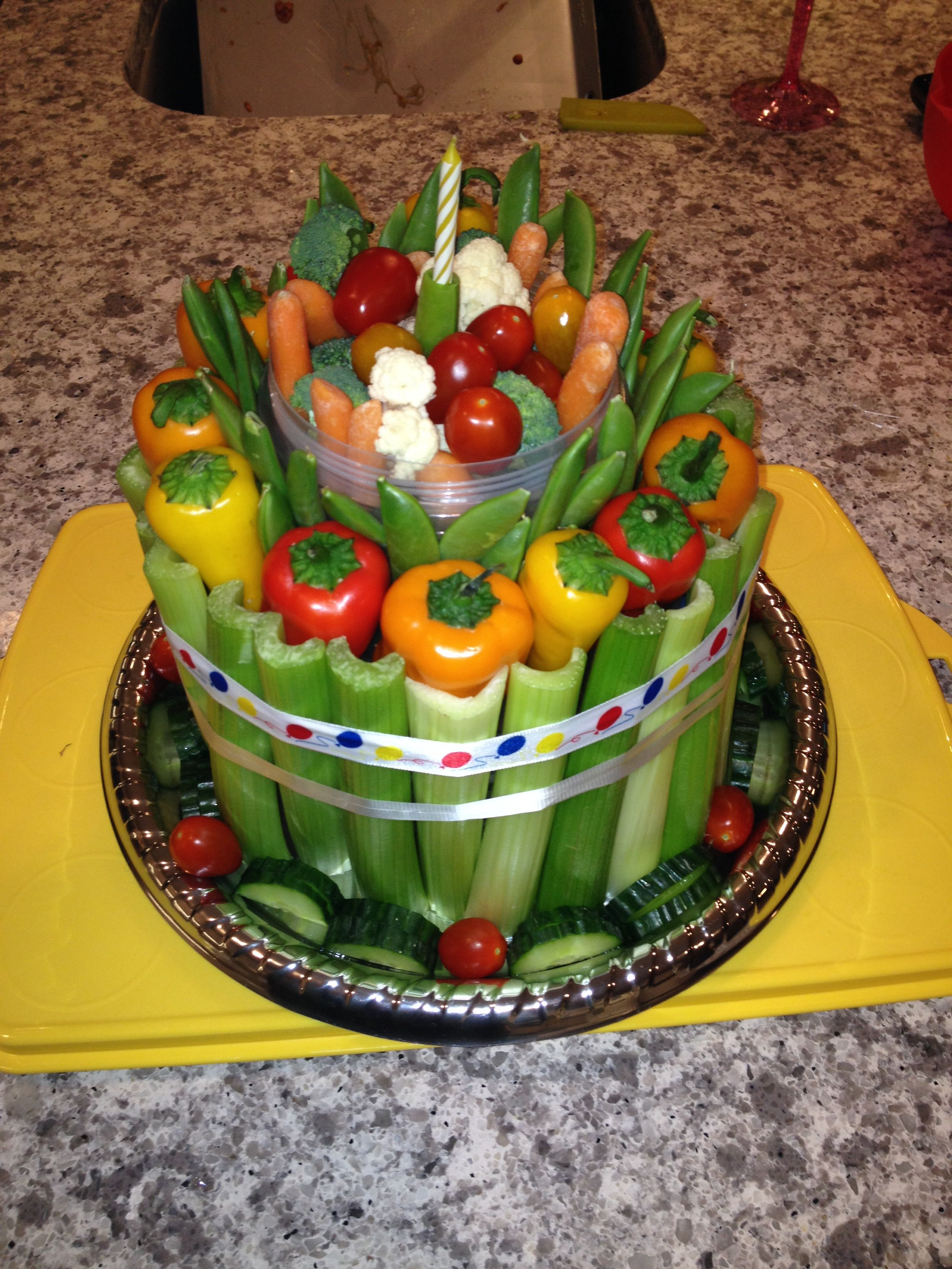 Stupendous Veggie Cake Veggie Cakes Vegetable Cake Healthy Birthday Cakes Funny Birthday Cards Online Alyptdamsfinfo