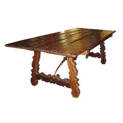 Rustic Carved Aged Wood Dining Table