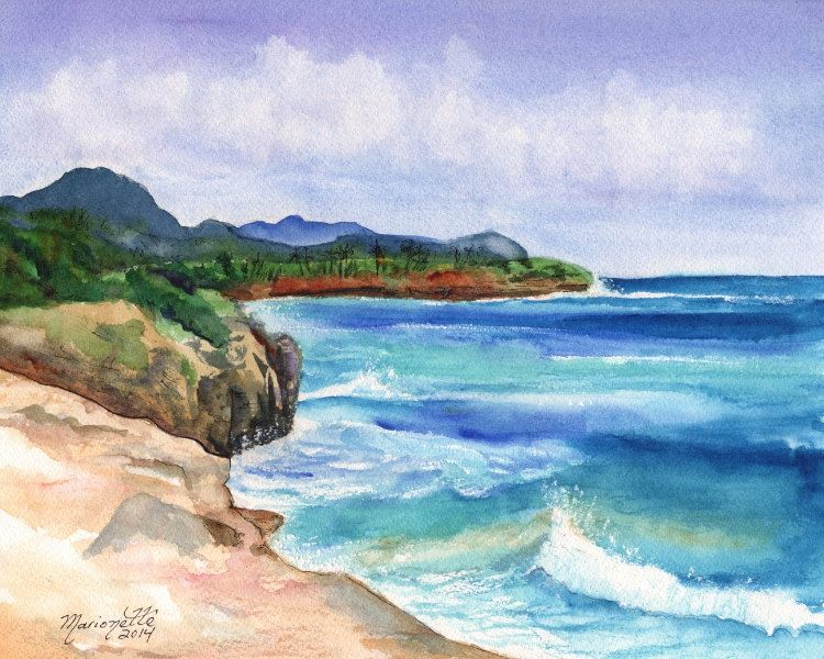 Mahaulepu Kauai South Shore Beach Hawaii Art Print Beach Art Kauai Surfing Art Beach Sand Ocean Print Hawaiian Landscape Decor In 2020 Surf Art Beach Watercolor Beach Art