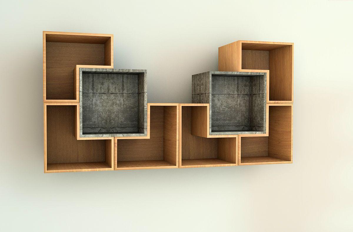 Balda Móvil Biblioteca De 8 Módulos 2 En Concreto Y 6 En