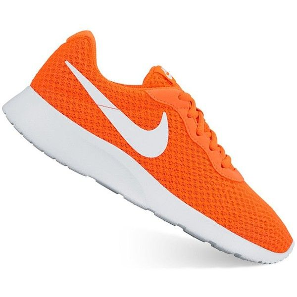 Nike Tanjun Women's Athletic Shoes ($65) ❤ liked on Polyvore featuring shoes, athletic shoes, med orange, laced shoes, nike athletic shoes, grip shoes, lightweight shoes and patterned shoes