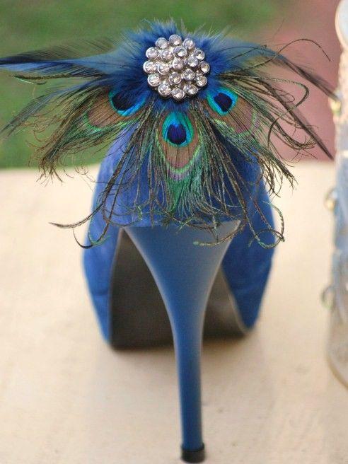 Shoe Clips Peacock Navy Fan Bride Bridal Bridesmaid Etsy Peacock Shoes Shoe Clips Peacock