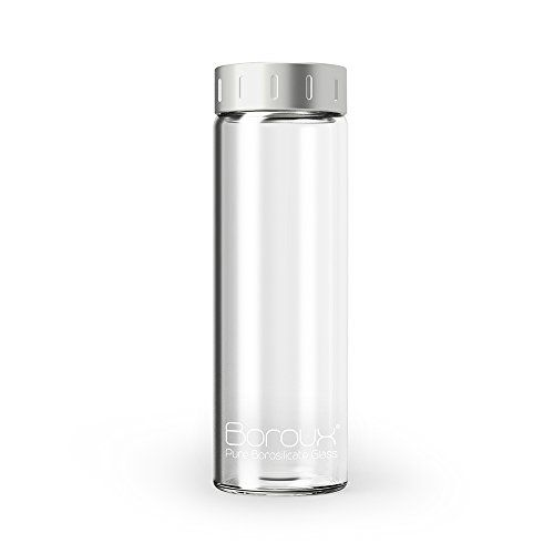 Boroux® - Pure Borosilicate 16.9 oz Reusable Glass Water Bottle with Stainless Steel Lid, BPA Free Non-Leaching Seal, and Dishwasher Safe