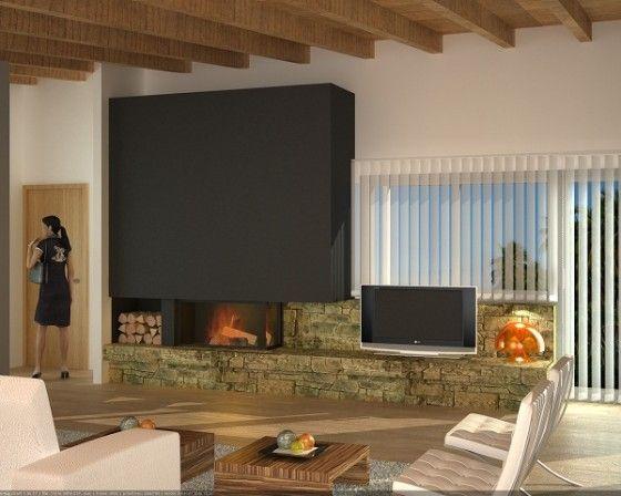 Decoración chimeneas modernas (3) salon Pinterest Salons - chimeneas modernas