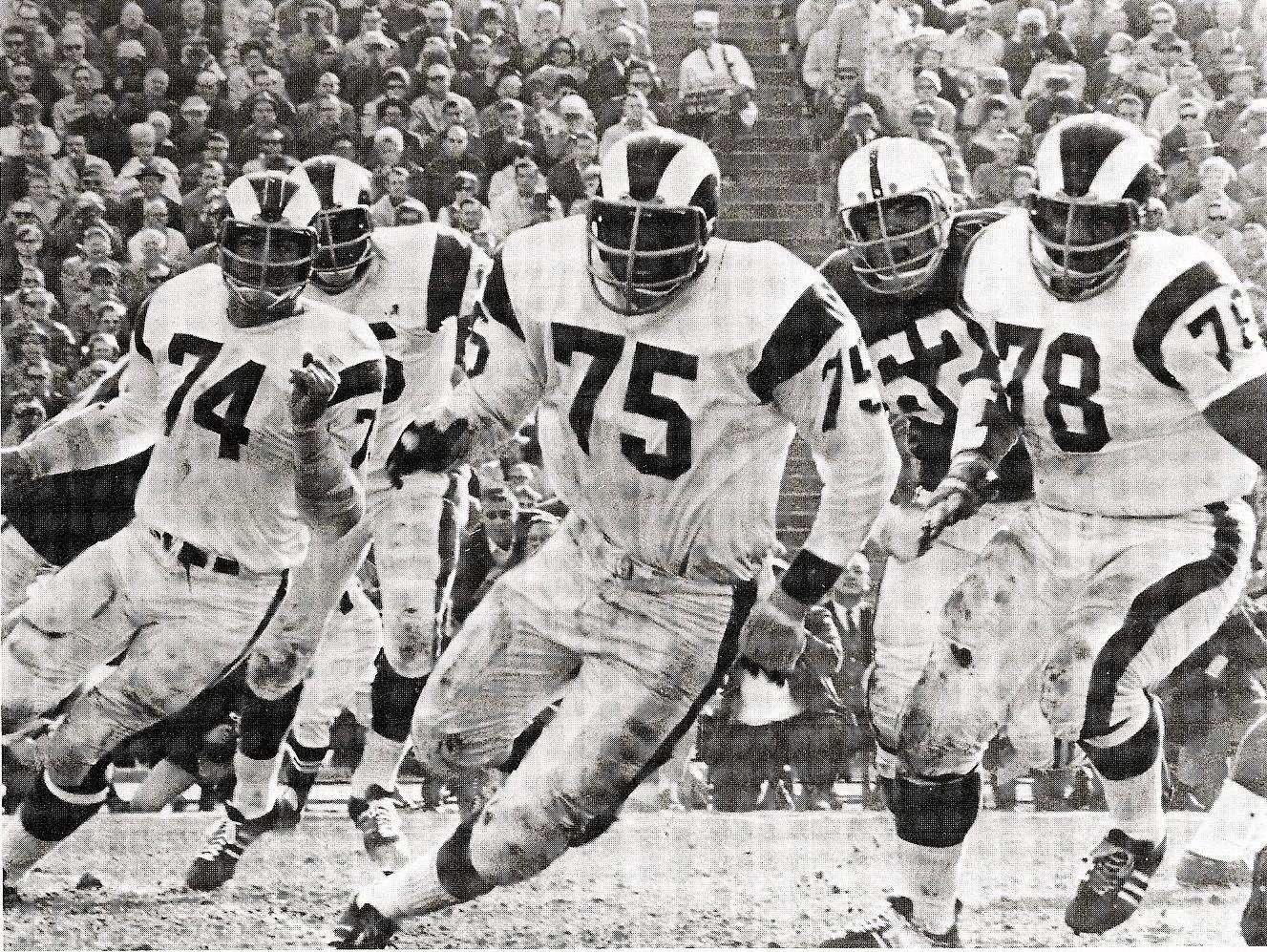 """The Fearsome Foursome"" ~ Los Angeles Rams ~ (75) Deacon Jones, (74) Merlin Olson, (78) Rosey Grier, (85) Lamar Lundy"