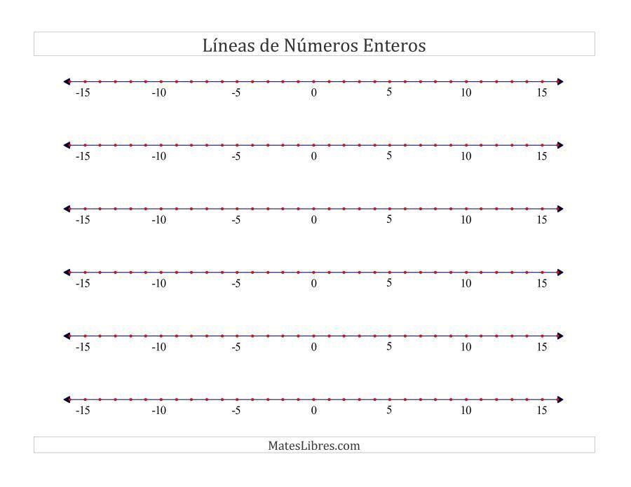 La Hoja De Ejercicios De Rectas Numericas En Blanco De La Pagina De Hojas De Ejercicios De Enteross En Mateslibres Com Recta Numerica Numeros Enteros Numerico