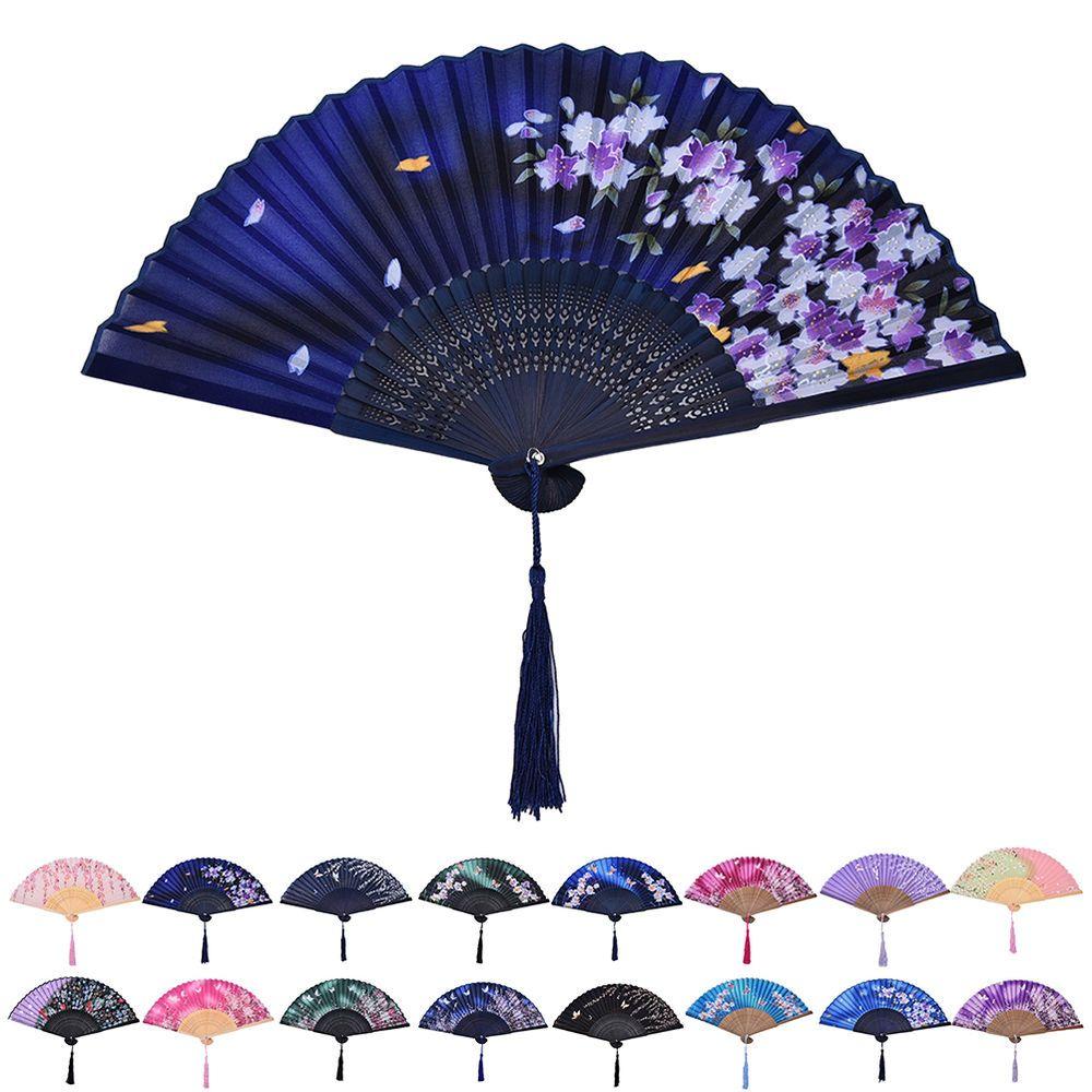 Chinese Hand Held Fan Bamboo Silk Butterfly & Flower Folding Fan ...