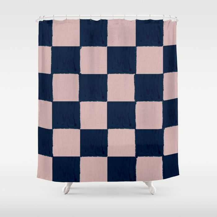 Buy Dusty Rose And Dark Blue Checks Soft Pastel Shower Curtain
