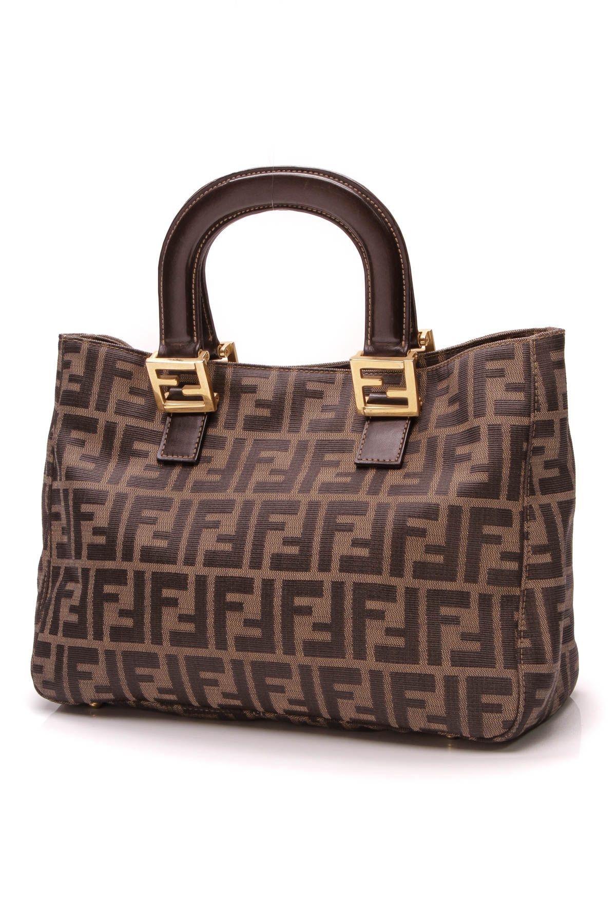 a9349b7a83cc8 Fendi Zucca Vintage Tote Bag - Brown