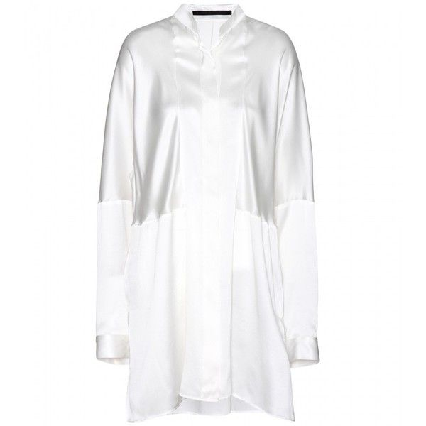 Haider Ackermann Silk Blouse (€320) ❤ liked on Polyvore featuring tops, blouses, white, silk blouses, white silk blouse, haider ackermann, silk top and white silk top