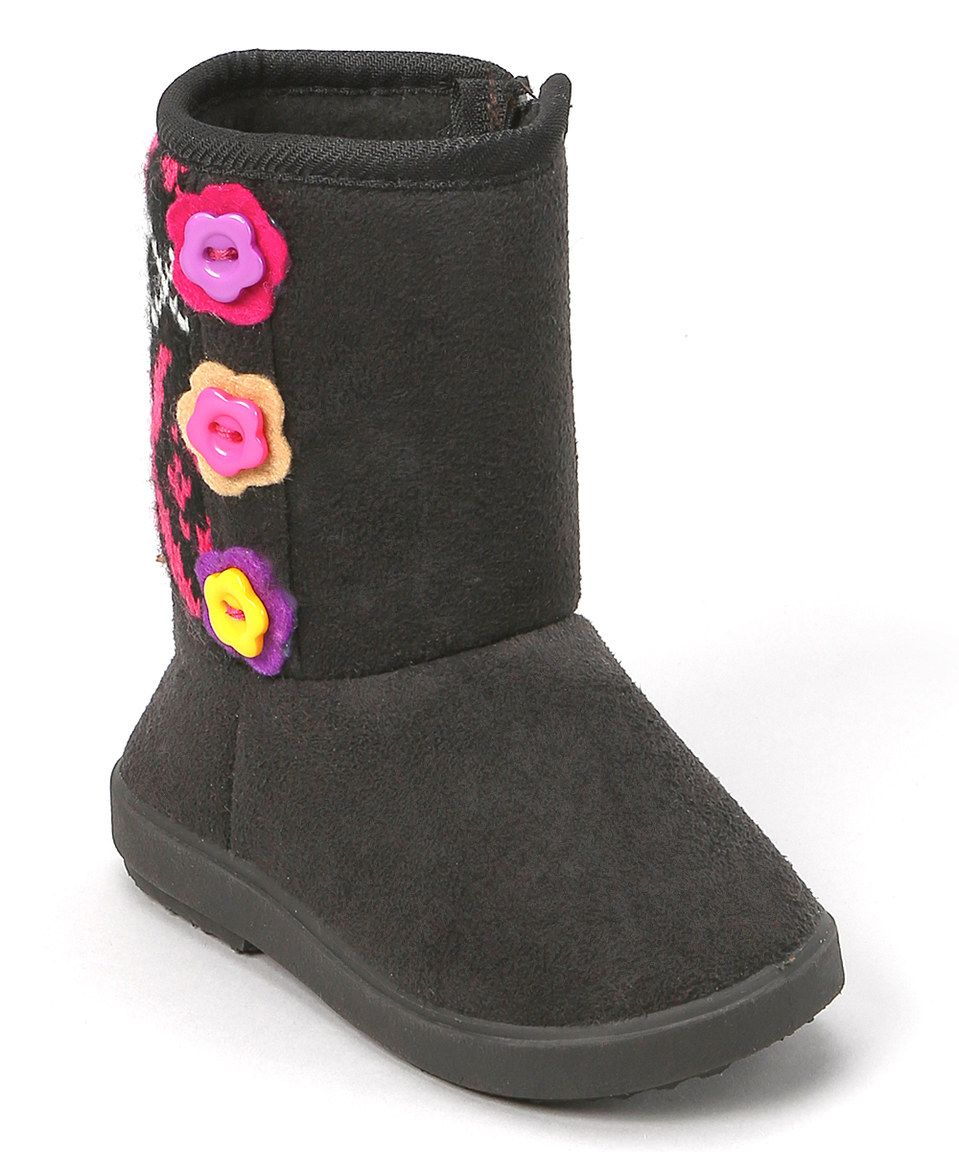 Another great find on #zulily! Black Flower Button Boot by Shoe Box Trading #zulilyfinds
