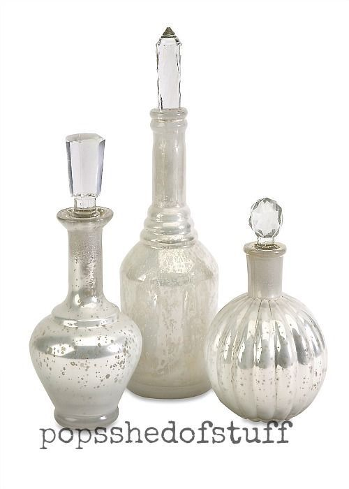 Decorative Bottles With Stoppers Adorable Clear Crystal Stopper Antique Glass 3 Piece Home Office Decorative Review