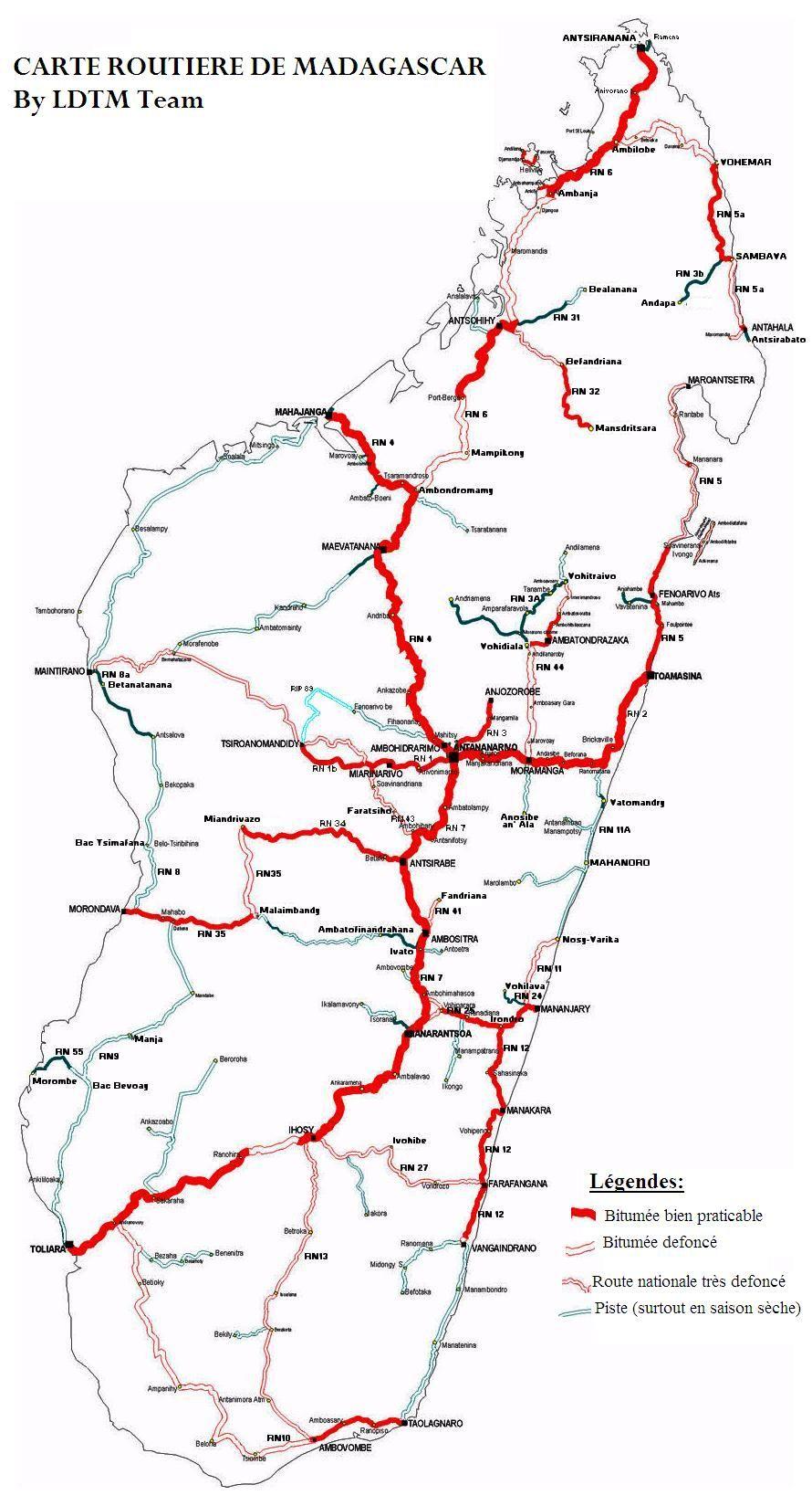 Carte Routiere Madagascar Gratuite.Ceci Est Une Carte Routiere De Madagascar Elle Vous